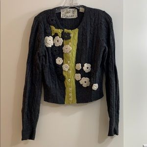 Anthropologie women's embroidered cropped cardigan